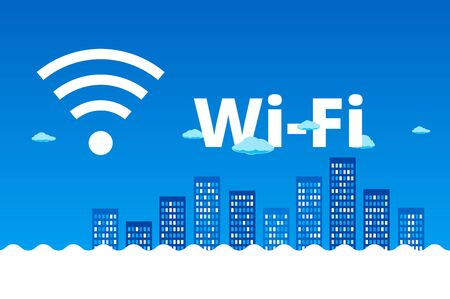 desing: Abstract blue cityscapewith clouds on skyline. Wifi, 3G, 4G advertising desing.