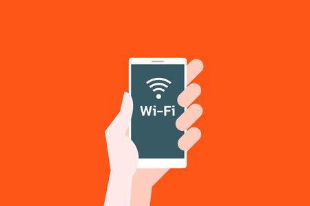 hot spot: Hand hold smartphone with wi-fi hot spot icon on orange. Flat vector illustration.