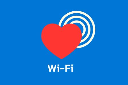wireless hot spot: WiFi hot spot icon with red hearth on blue background Illustration