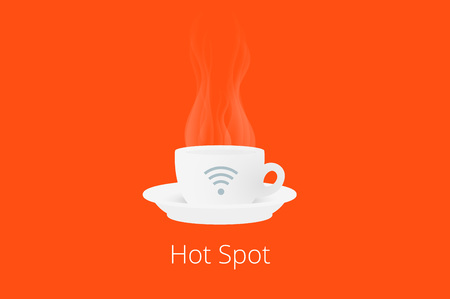 cybercafe: White cup of coffee with hot spot wifi icon on orange background. Flat vector illustration.