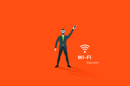 wifi icon: Hipster businessman in classic suit hold in hand smartphone with wifi icon. Flat vector illustration.