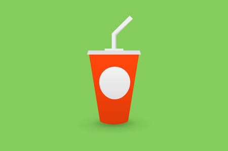 plastic straw: Red Plastic Cup of Cola with a straw, isolated on green background flat 2.0 vector icon