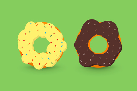 creamy: Creamy and chocolate donuts, isolated on green background flat 2.0 vector icon