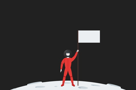 spacesuit: The pioneer astronaut in spacesuit standing on a planet with a flag in hand. Flat vector illustration.