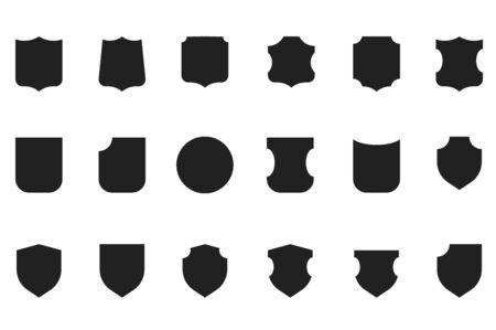 os: Vintage flat vector heraldic shield shapes labels design. Retro style award os sale labels template. Illustration
