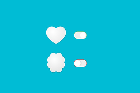 off balance: Heart and Brain Switch Controls. Concept of balance between logic and emotion. Flat vector illustration.