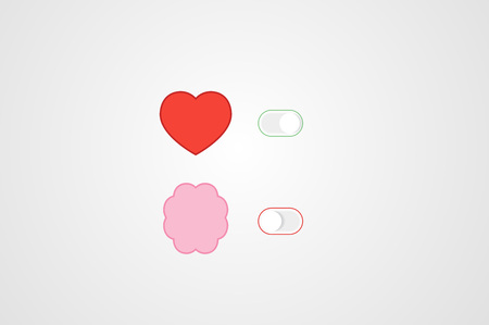 controls: Heart and Brain Switch Controls. Concept of balance between logic and emotion. Flat vector illustration.