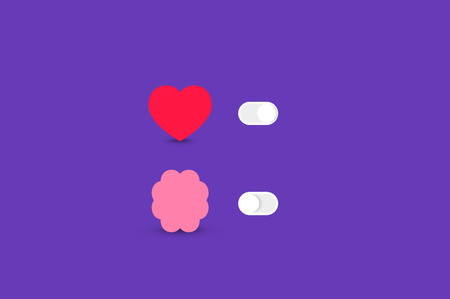 logic: Heart and Brain Switch Controls. Concept of balance between logic and emotion. Flat vector illustration.