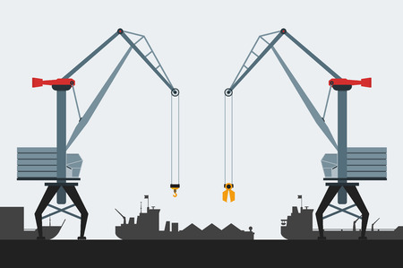 Cargo seaport with cranes and ships. Modern flat design style. Simple icons. Web site page and mobile app design element.