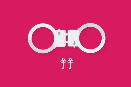 sex shop: BDSM handcuffs, bondage element to immobilize partner. Sex shop stuff for sadist and masochist.