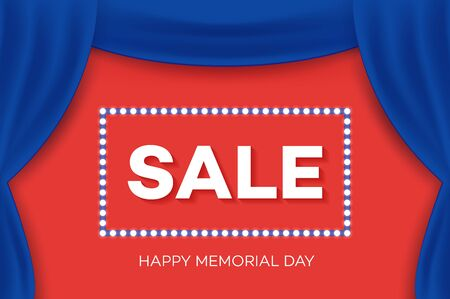 portiere: Realistic drape, theater curtain. Happy Memorial Day Greeting Card. Sale Invitation Design. Illustration