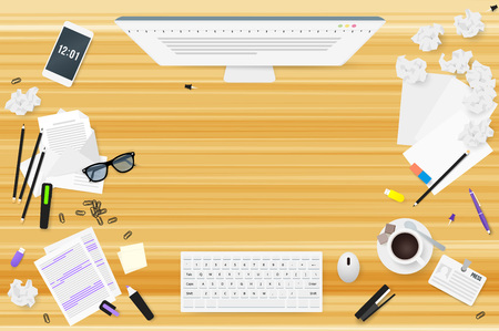 Copywriter work desktop top view with wooden texture. Letters, glasses, a Cup of coffee, notes, badge, pencils, stapler, staples, highlighter, eraser, phone, sheet of paper, a stick, crumpled paper, sketches.