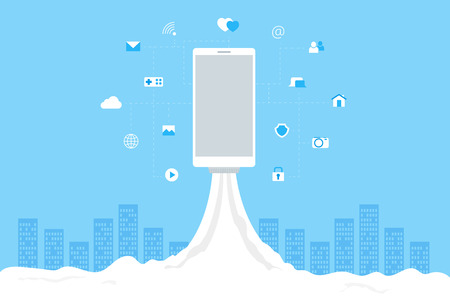 wireless hot spot: Phone launch like a space rocket with mobile icons. Abstract blue cityscape on background.