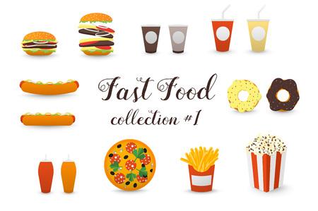 milk shake: Fast Food Collection. Burger, Hot Dog, Coffee, Tea, Milk Shake, Pizza, Donut, French Fries, Popcorn Box. Illustration