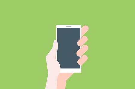 smartphone hand: Hand hold smartphone on light green background.