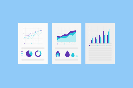 analytic: Analytic reports on the Paper sheet with set of Info graphic Elements.