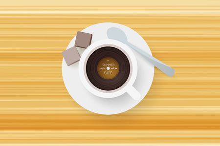 oldies: DJ cafe. Abstract cup of coffee with vinyl record.