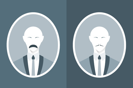 vintage portrait: Vintage portrait of man in suit with mustache. Modern flat illustration.