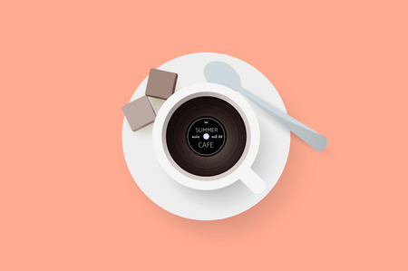 oldies: DJ cafe. Abstract cup of coffee with vinyl record. Vector illustration.