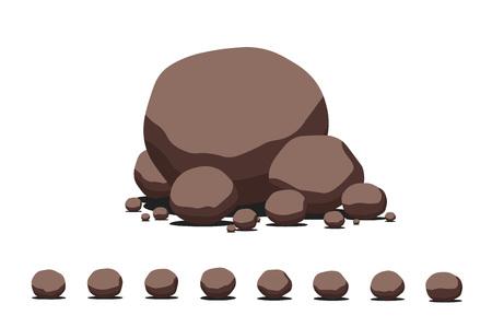 flagstone: Brown cartoon flat vector stone set. Decoration template.