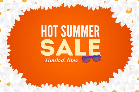 hot summer: Hot summer sale banner. Vector discount banner template. Modern typography label. Funny frame design. Illustration