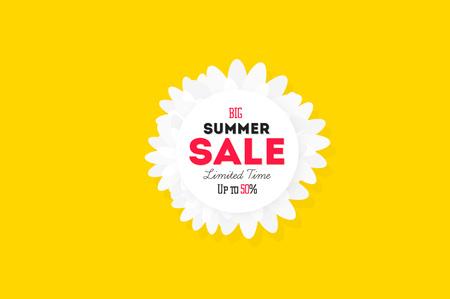 discount banner: Hot summer sale banner. Vector discount banner template. Modern typography label. Funny text sticker design.