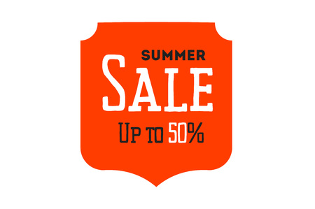 styled: Hot summer sale banner. Vector discount banner template. Retro styled typography label. Vintage text sticker design.