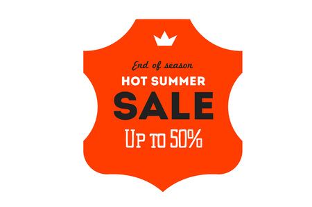 discount banner: Hot summer sale banner. Vector discount banner template. Retro styled typography label. Vintage text sticker design.