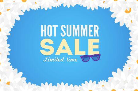 discount banner: Hot summer sale banner. Vector discount banner template. Modern typography label. Funny frame design. Illustration
