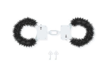 sex shop: BDSM fluffy handcuffs, bondage element to immobilize partner. Sex shop stuff for sadist and masochist. Modern flat Illustration