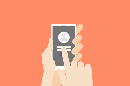 one finger: Hand holding smartphone with one finger over touchscreen. Flat vector log-in or register conceptual illustration.