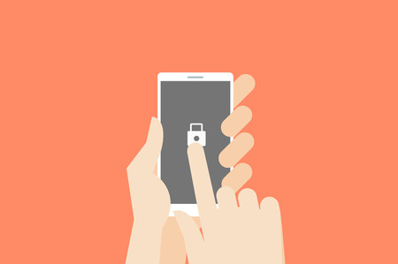 one finger: Hand holding smartphone with one finger over touchscreen. Flat vector safety conceptual illustration.
