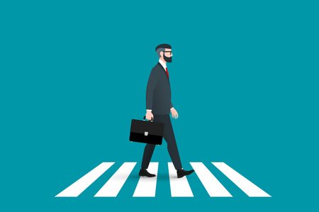 forceful: Trendy nerd hipster pedestrian crossing continental crosswalk. This businessman wearing a solid suit and goes forward while holding a briefcase. Abstract flat vector business conceptual illustration. Illustration
