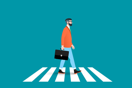 Trendy nerd hipster pedestrian crossing continental crosswalk. This businessman wearing a solid suit and goes forward while holding a briefcase. Abstract flat vector business conceptual illustration. Vettoriali