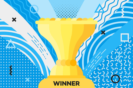 souvenir: Award placard with trophy cup for winner. Hipster abstract vector background. Memphis style. Template for banner, poster, card, souvenir, flyer, brochure, t-shirt.