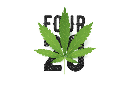 cannabis sativa: 420 four-twenty T-Shirt print with realistic Marijuana leaf. Conceptual cannabis culture illustration.