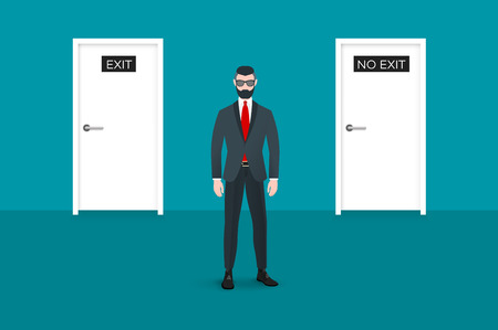 undercut: Trendy nerd hipster pedestrian facing the viewer. There is two doors on background. This businessman symbolizes the choice between some options. Illustration