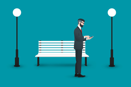 searching: Trendy nerd hipster pedestrian standing amid benches and street lamp. This businessman wearing solid suit and holding smartphone in hands. He is busy and looking for something. Illustration