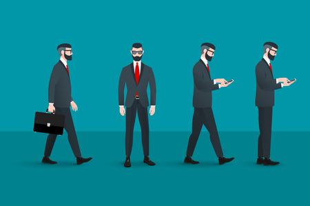 Set of trendy nerd hipster businessman. Vectores