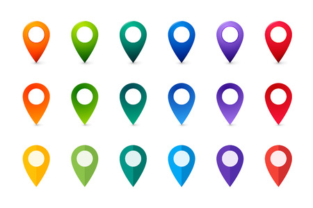 Set of colorful Map Markers. Collection of flat and realistic Pointers. Stock Illustratie