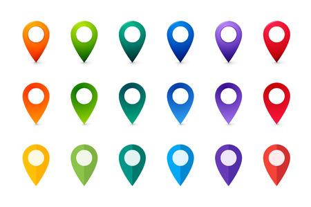 Zestaw kolorowych znaczników map. Kolekcja płaskich i realistycznych wskaźników.
