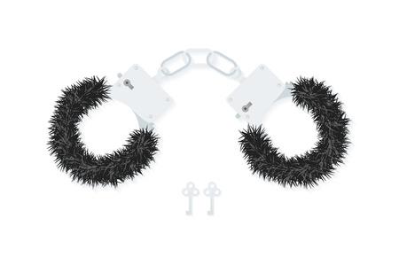 sex shop: BDSM fluffy handcuffs, bondage element to immobilize partner. Sex shop stuff for sadist and masochist.