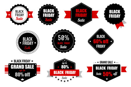 Black Friday Sale Banner. Promotional Discount Label. Vector icon. Illustration