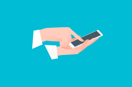 Hand holding smartphone with one finger over touchscreen. Side view. Flat vector conceptual illustration. 일러스트