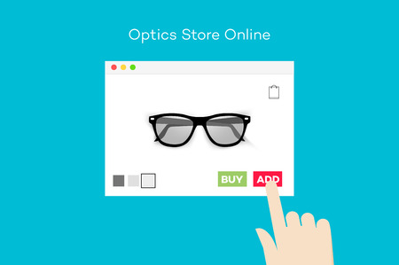 purchase book: Online Glasses Store. Flat Vector Conceptual Illustration.