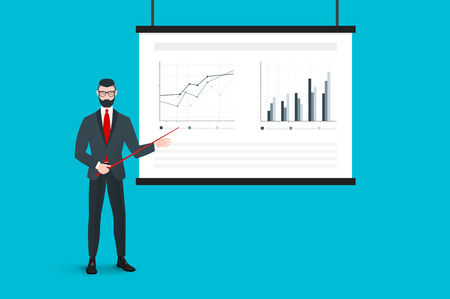 absract: Business Presentation On The Projector Screen With Absract Graphs And Trendy Coach. Flat Vector Concept.