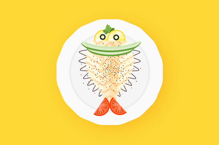 plaice: Cute Cooked Halibut Flounder Flatfish Vector Illustration.