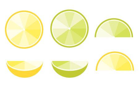 Lemon And Lime Slices, Flat Vector Icons For Food Decor