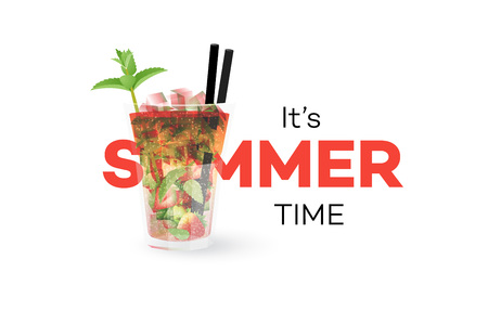 Strawberry Mojito Coctail Isolated On White Background. Seasonal Summer Conceptual Banner. Vector Design Element