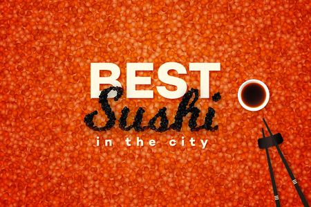 susi: Best Sushi In The City. Promotional Vector Text Design Template With Realistic Black Caviar Over Red. Traditional Japanese Food Banner